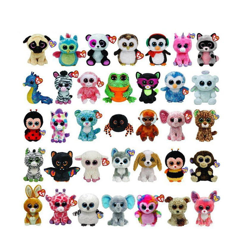 Original TY Beanie Boos Unicorn Big Eyes 15cm Plush Toy Doll Kawaii TY Original Stuffed Animals for Babies's Christmas Gifts Toy hot sale 50cm the last airbender resource appa avatar stuffed plush doll toy x mas gift kawaii plush toys unicorn