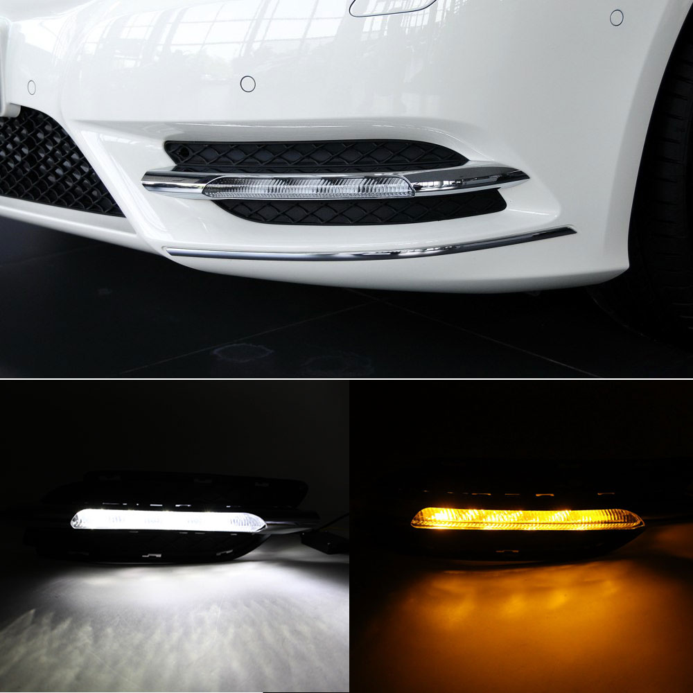 DRL Daytime Running Light Daylight for Mercedes Benz W246 B Class B180 B200 2011 2012 2013 Car Styling White DRL/Yellow Turning akd car styling for mercedes benz c class c200k led star light drl front grille led logo hollow emblem daytime running light