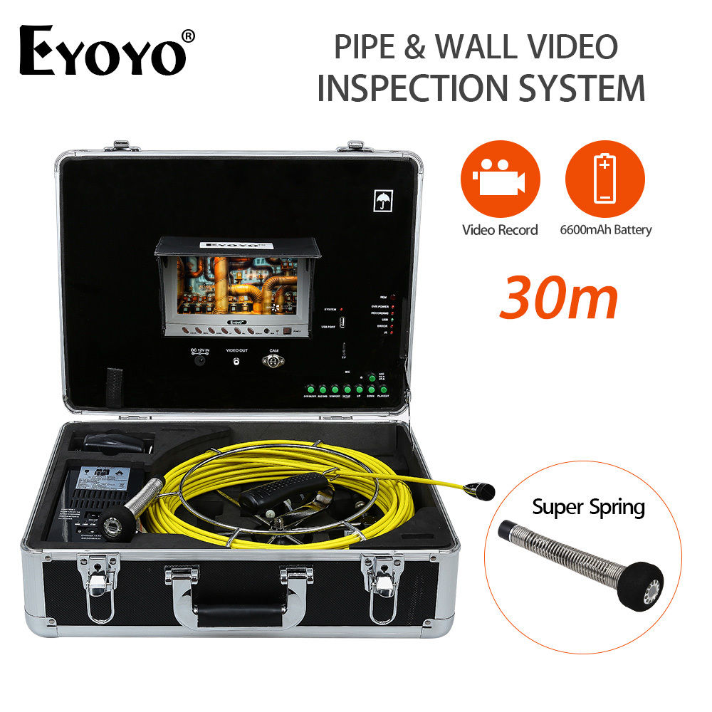 Eyoyo 23mm 30M Pipe Wall Video Inspection Sewer Drain Camera  Pipeline Snake Cam DVR 7LCD Monitor 6600mAh Battery with USB Port drain sewer wall cave pipe inspection dvr camera pipe endoscope borescope 20m 50m cable pipeline sewage snake camera