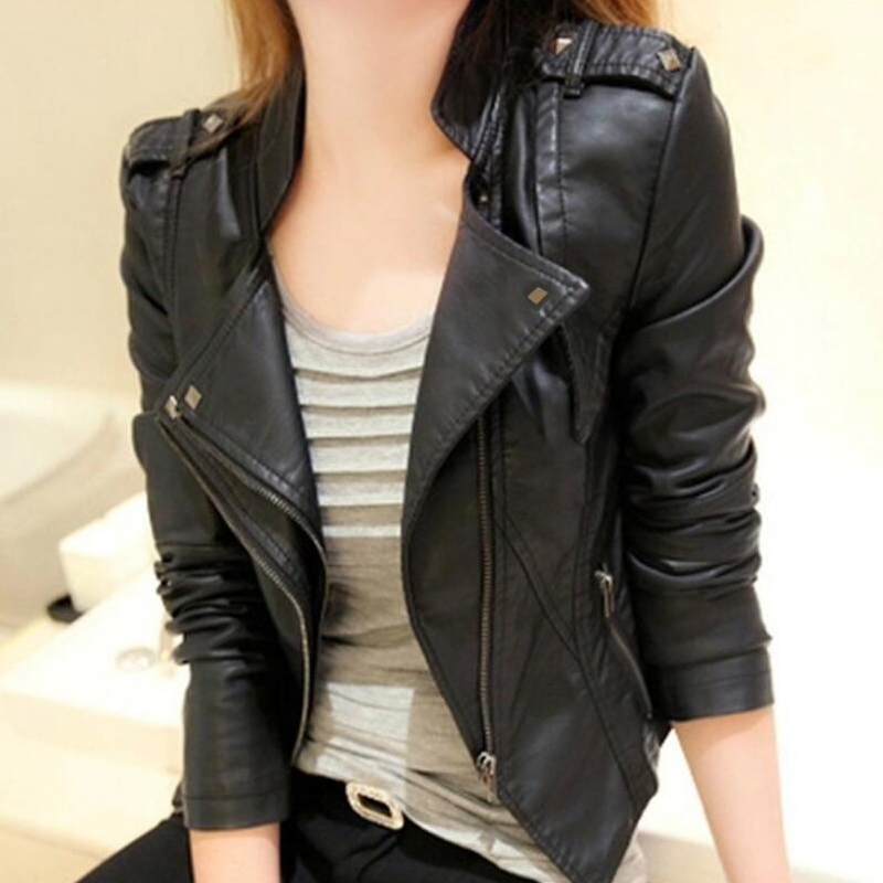 S-3XL 2019 New Fashion faux   leather   coat slim short women jackets   leather   coat turn down collar solid MOTO overcoat Black A250