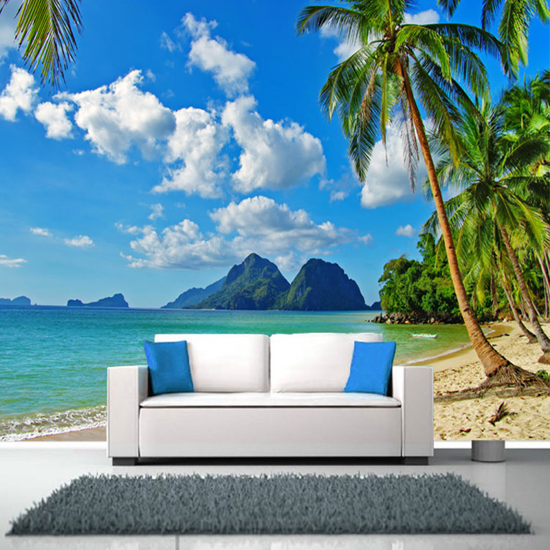 Customized Any Size Palm Beach Scenery Mural Wallpaper ...