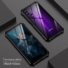 עבור Huawei Honor 20 פרו 20i מקרה מתכת פגוש אלומיניום סגסוגת 9 שעתי מזג זכוכית עמיד הלם כיסוי לכבוד 20 לייט טלפון מקרה