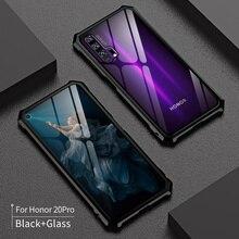 Huawei onur için 20 Pro 20i kılıf Metal tampon alüminyum alaşımlı 9H temperli cam darbeye dayanıklı kapak onur 20 lite telefon kılıfı