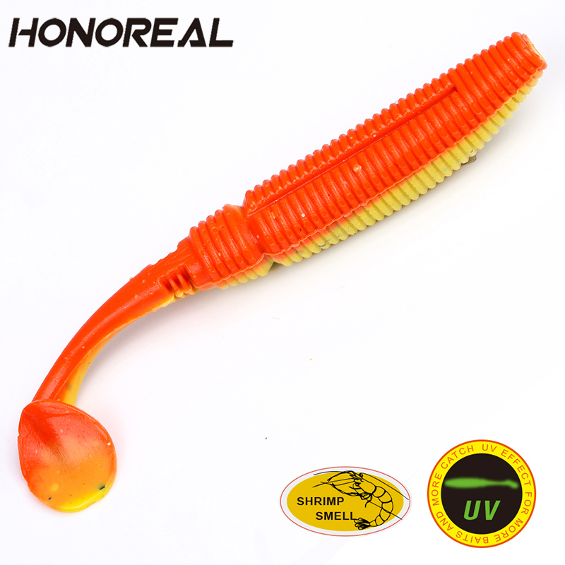 HONOREAL 6pcs Fishing Lures Artificial Soft Fishing Bait UV Shrimp Smell Deep and Shallow Water for Bass Fishing 5/7.5cm Length