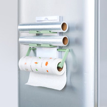Multifunction 3 Layers cling film storage rack fridge magnet shelf paper roll  towel holder kitchen accessories,Free shipping.