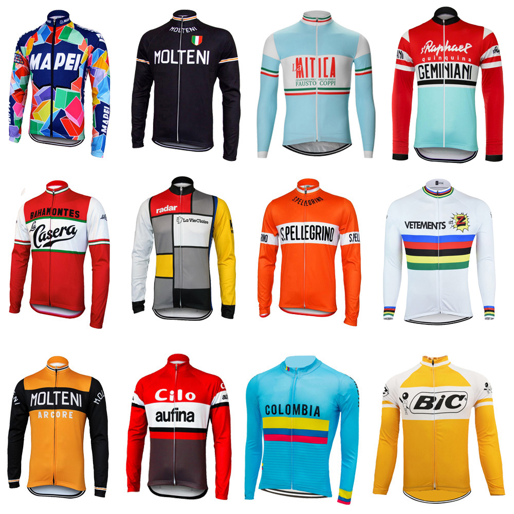 Retro team cycling jersey man long sleeve bike wear thin Outdoor sports cycling clothing MTB ropa Ciclismo Multiple choices