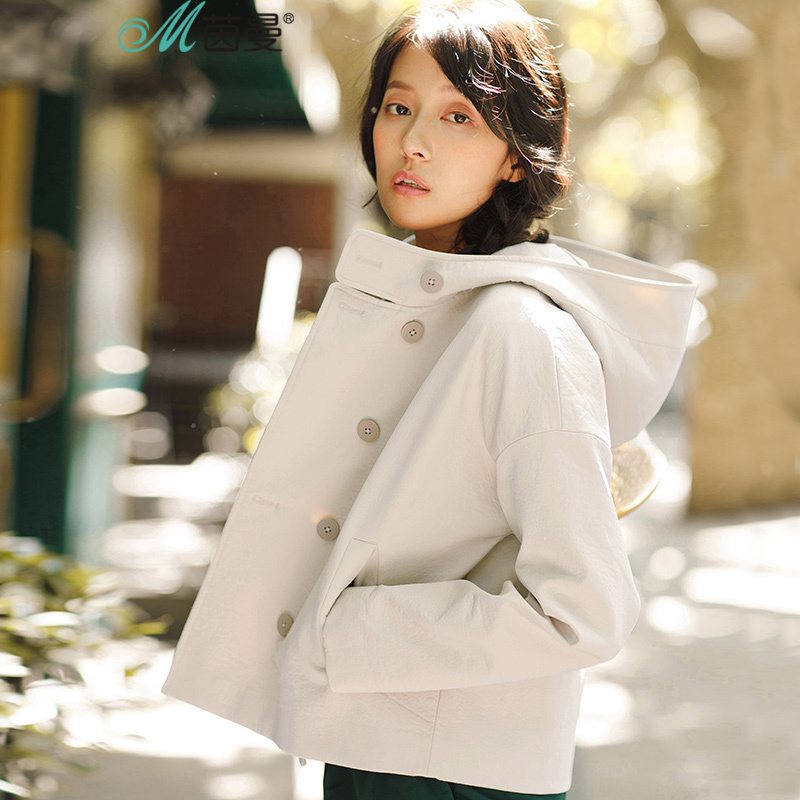 INMAN Femmes de nouvelles à capuchon chaud couleur tout-allumette net double breasted veste