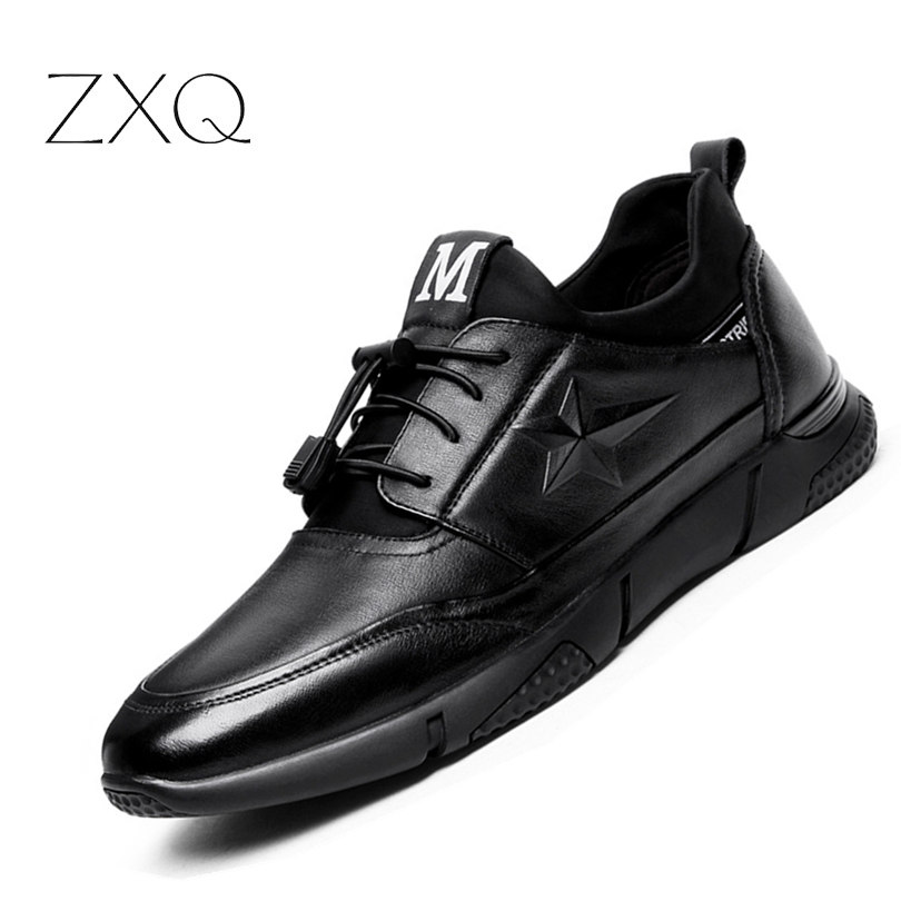 Newest 2017 Autumn Genuine Leather Men Casual Shoes Luxury Black Top Quality Fashion No-Slip Men Shoes XQ700 mulinsen newest 2017 autumn winter men