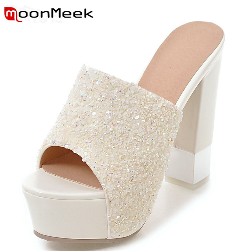 ФОТО MoonMeek 2017 hot sale women high heels sandals fashion peep toe glitter summer shoes leisure comfortable ladies party shoes