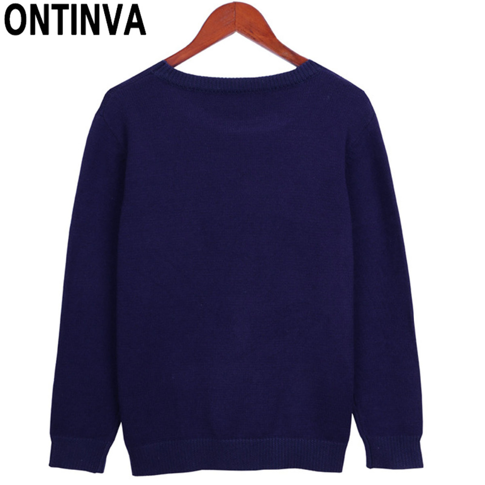 Junior Girls Dark Blue Sweaters with Cute Jumper Womens O Neck ...