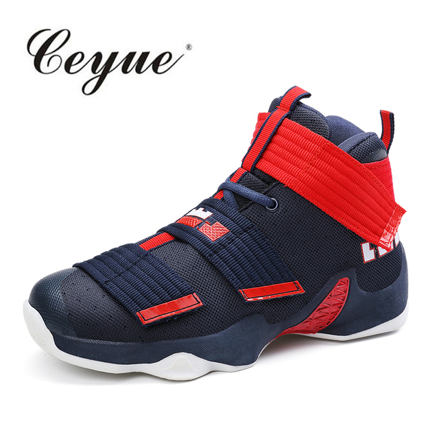 Basketball Shoes Men Sneakers Lebron James Shoes High top Lace up Ankle Shoes  Air cushion Shockproof