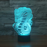 3D Atmosphere lamp 7 Color Changing Visual illusion LED Decor Lamp Huge Snake Home Table Decoration for Child Gift