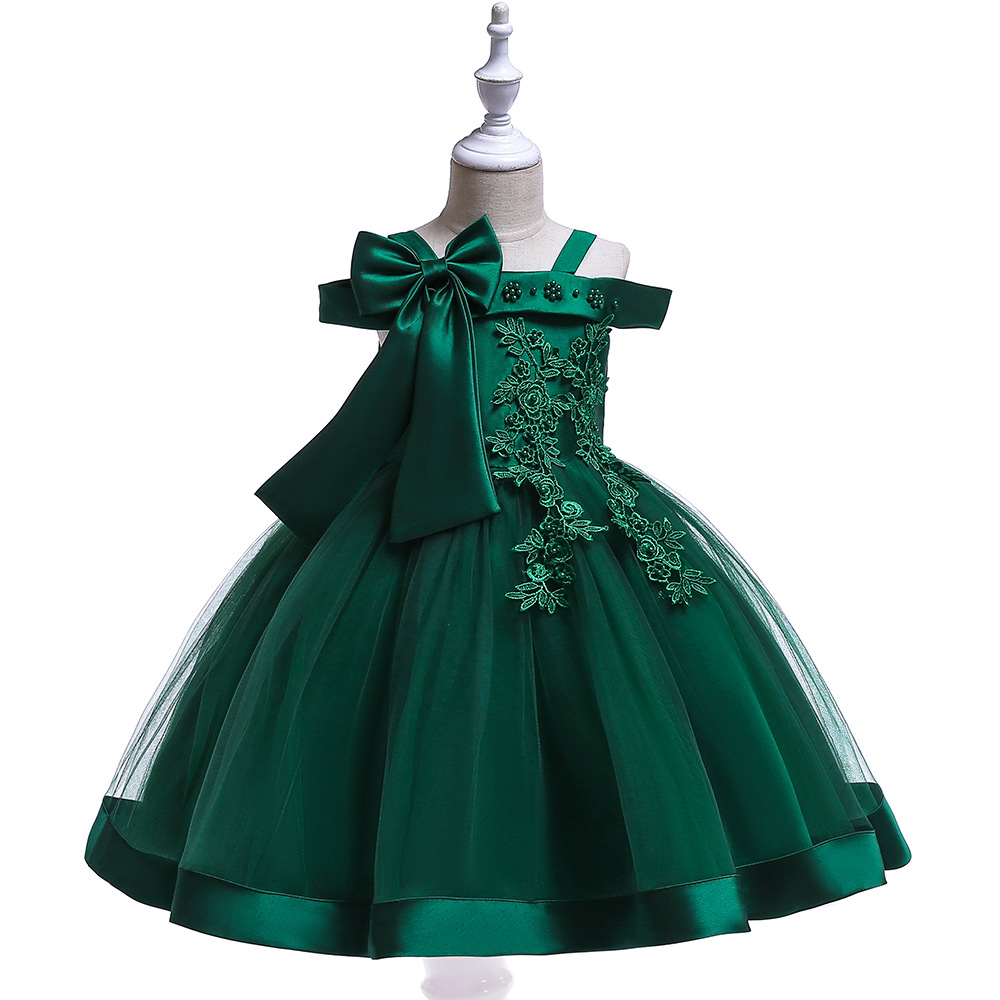 Off the Shoulder Green   Flower     Girl     Dresses   For Wedding Tulle First Communion   dresses   Appliques Evening Gowns 2019