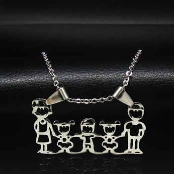 Unisex Family Necklace Jewelry Necklaces Women Jewelry Metal Color: 2 girl 1 boy