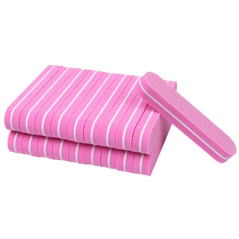 100 pcs set rosa uv gel unha buffers arquivos bloco de lixamento da esponja de moagem
