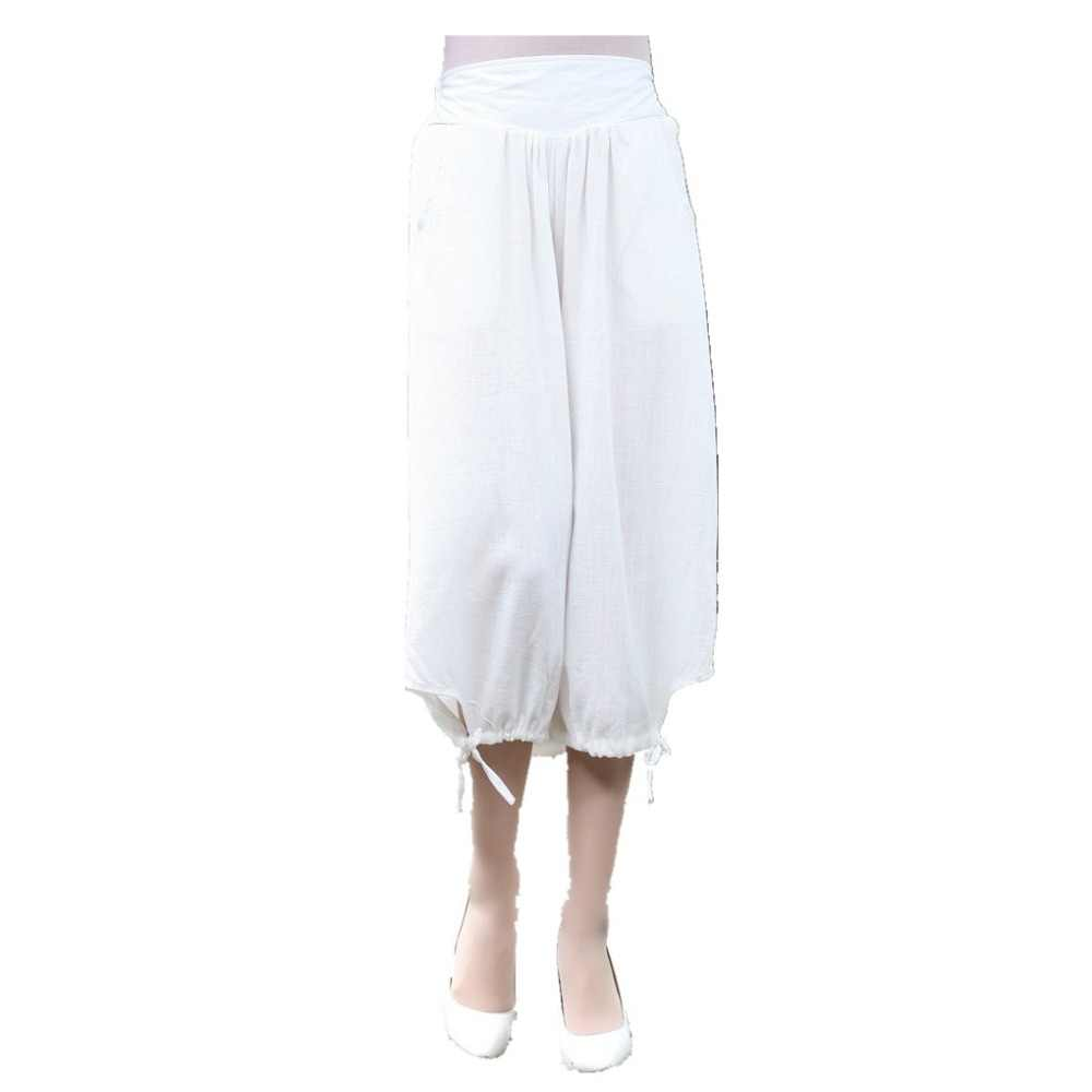 Шанхай история женские льняные китайские традиционные брюки эластичный пояс широкие брюки капри 3 цвета
