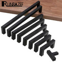RUNBAZEF manija de gabinete negro moderno muebles cuadrados Hardware Puerta de cocina de acero inoxidable perillas armario cajón tiradores