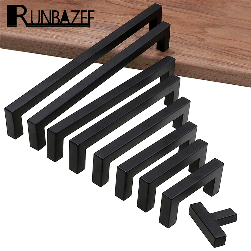 RUNBAZEF Modern Black Cabinet Handle Square Furniture Hardware Stainless Steel Kitchen Door Knobs Cupboard Wardrobe Drawer Pulls
