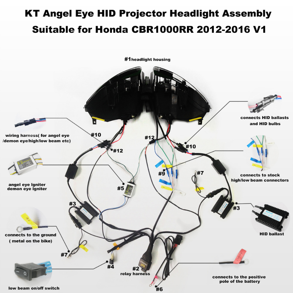 KT Headlight for Honda CBR1000RR 2012 2016 LED Angel Eye Green Demon Eye Motorcycle HID Projector kt headlight for honda cbr1000rr 2012 2016 led angel eye green  at soozxer.org