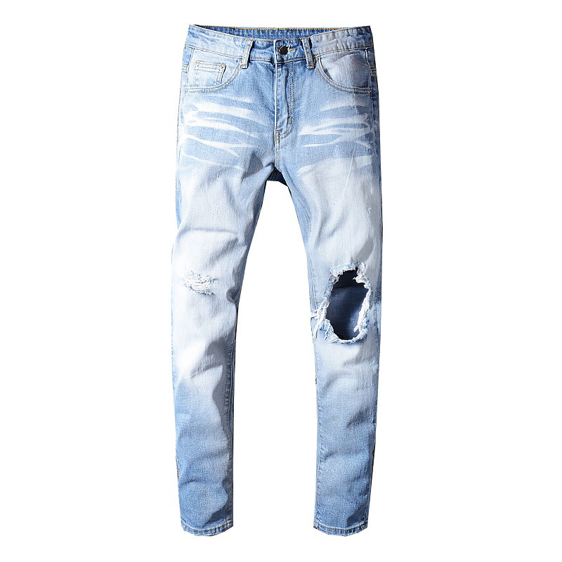 Sokotoo Men's Light Blue Holes Ripped Stretch Jeans Slim Skinny Distressed Denim Pants Long Trousers High Quality