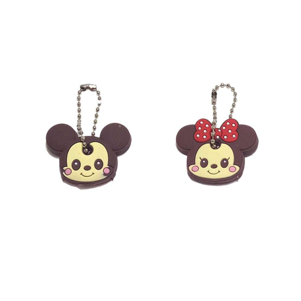 2PCS Chave Titular Anel Chave Bonito Anime Minnie Cap Chave Corrente Chave Dos Desenhos Animados Urso Batman Herói Chaveiro Stitch Capitão do Saco das mulheres
