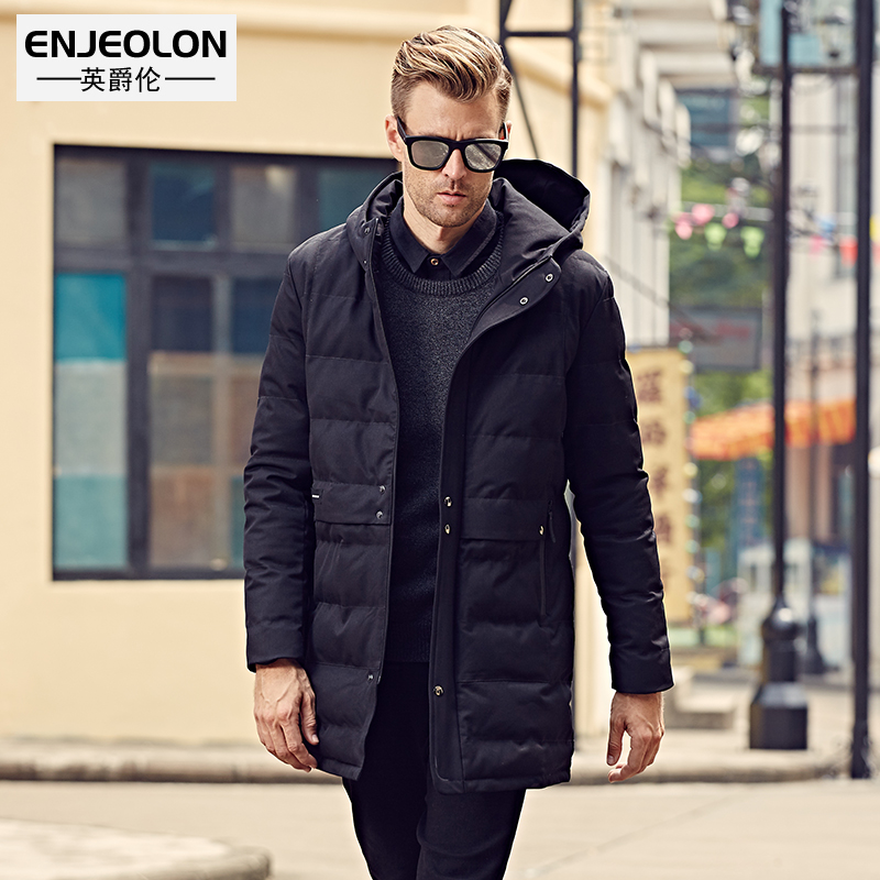 Enjeolon Brand Cotton Padded Hooded long Jacket Men,windproof Parka Thick Quilted Coat Mens plus size 3XL WT0246 free ship winter jacket men 2016 brand parka plus size men s hooded parka zipper quilted coat casual jackets