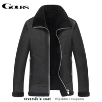 Gours Winter Genuine Leather Jacket for Men Fashion Brand Black Sheepskin Reversible Jackets and Coats with Wool Lining New 4XL