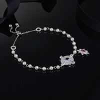 [MeiBaPJ] European and American 925 Pure Silver AAA Zircon Bracelets Red Stone & Blue Stone & Green Stone 3 Color For women