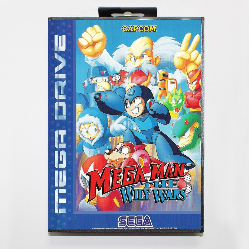 Sega MD games card - Mega Man The Wily Wars with box for Sega MegaDrive Video Game Console 16 bit MD card