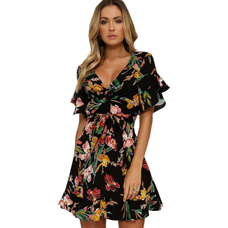 Summer Dress 2019 Hot Sale Fashion Sexy Short Sleeve V Neck Flower Print Europe And -1464