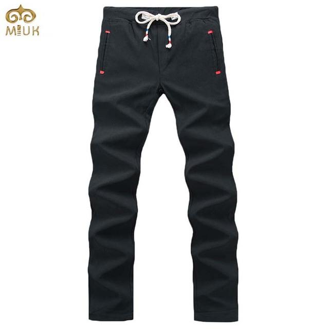 Miuk 2017 nuevo algodón hombres de gran tamaño pantalones 34 33 cordón de la ropa de la marca negro azul marino recta pantalones pantalones hombre pantalones deportivos