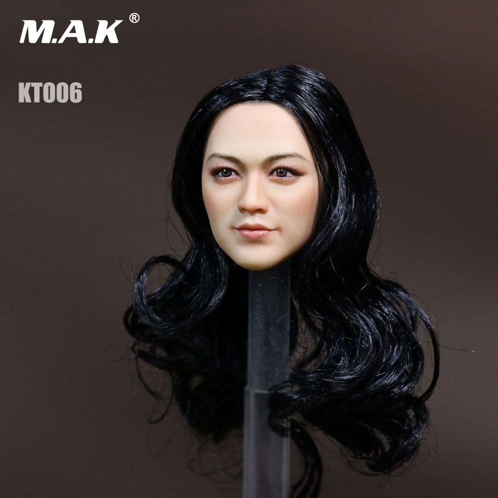 1/6 Scale Girl Head Sculpt Asian Female Headsculpt KT006 with Black Wave Hair for 12'' Figures Body 1 6 scale the game of death bruce lee head sculpt and kungfu clothes for 12 inches figures bodies