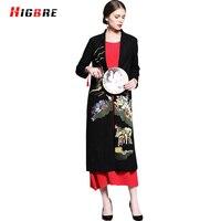 Higbre Дизайн Винтаж длинные зимние белые кожаные куртки вышитые Китайский Стиль пальто Для женщин элегантные женские PU Куртки плюс Размеры