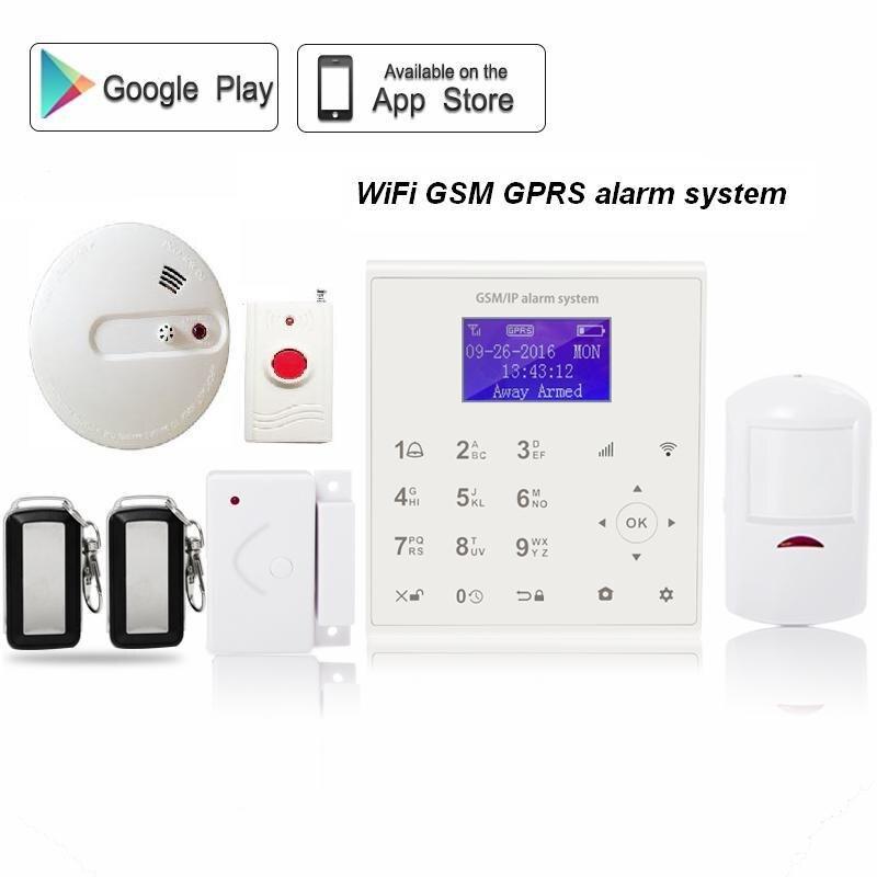 Spanish Menu Wireless WIFI GSM GPRS Home Security Alarm System Emergency Button Fire Alarm PIR Motion Sensor Remote Control цена и фото