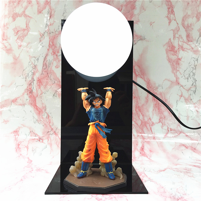 Anime Dragon Ball Goku Figures Super Saiyan LED Spirit Bomb Goku table lamp PVC Dragon Ball Action Figure Collectible Model Toys