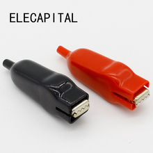 2 PCS Sheathed Alligator Clips Electrical DIY Test Leads Alligator Double-Ended Crocodile Clips Roach Electrical Jumper Wire