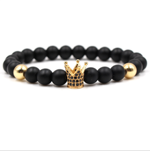 8mm Fashion Natural Black Stone Beads Zirconia Crown Charm Men and Women Gold Jewelry Elastic Bracelet