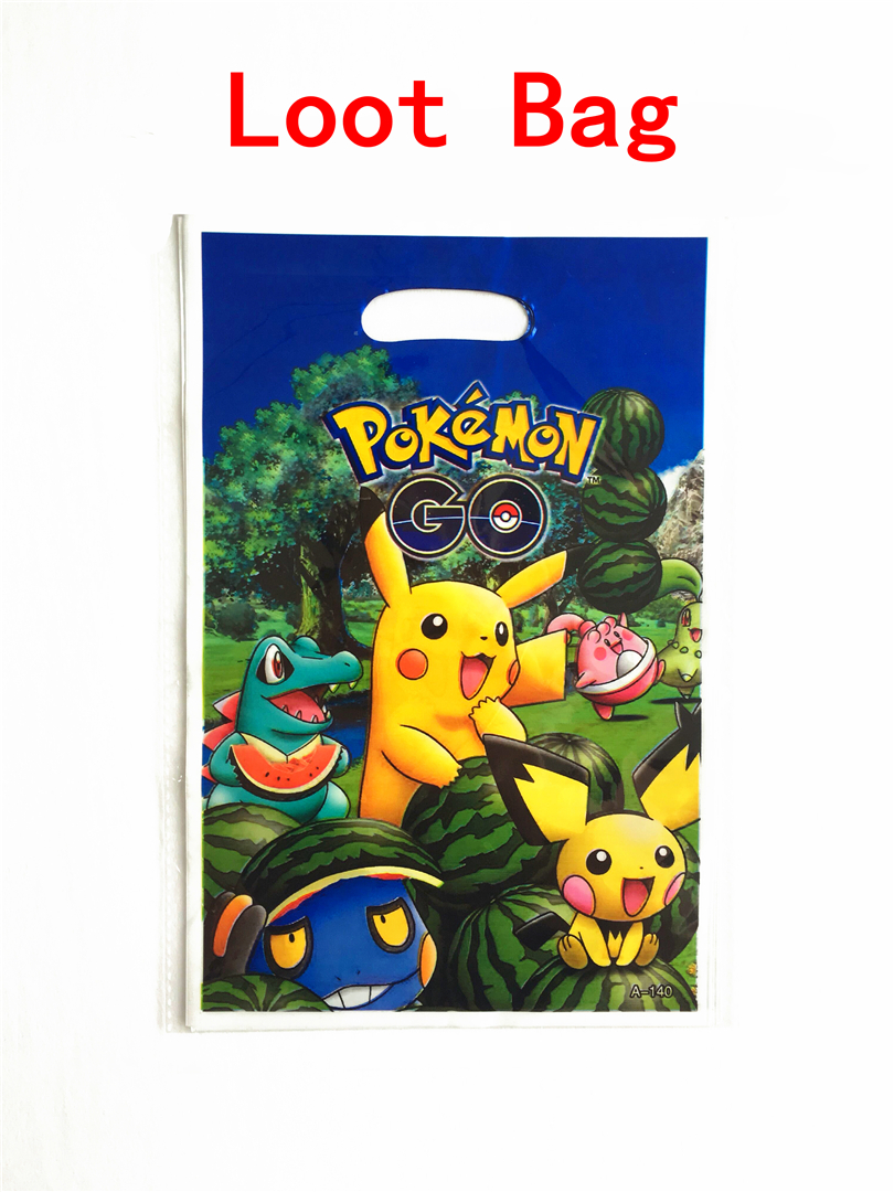10pcs/lot Gift bag Loot bag Pokemon Go Pikachu Kids Birthday party supply event party supplies party Decoration Set candy bag
