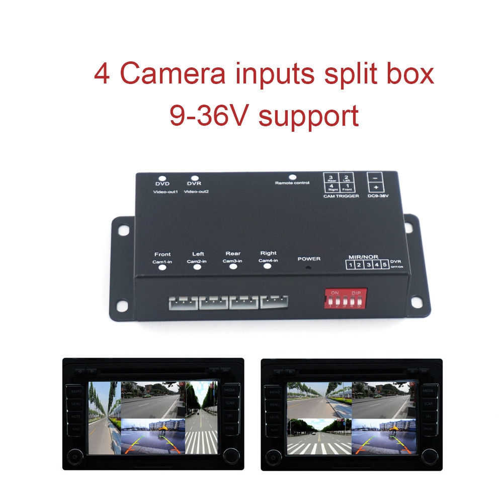AZGIANT 4 Way Composite RCA Video Splitter Distribution support car rear front side view 4 cameras control box switch