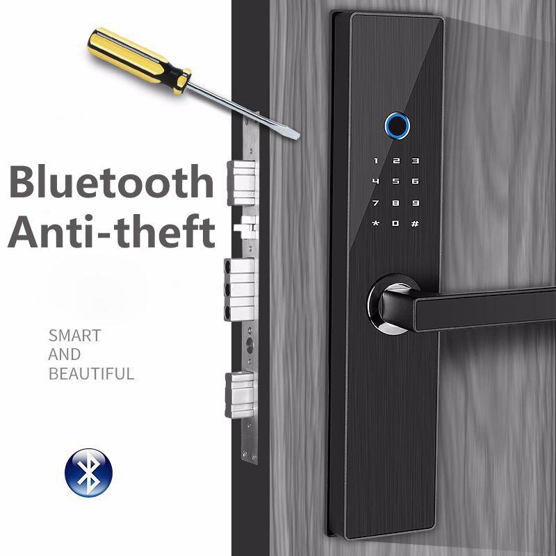 Serrure de porte intelligente noire serrure sans clé de maison empreinte digitale et mot de passe serrure électronique de travail serrure antivol de poignée de porte