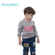 Every Night Boys T-shirt Cotton Shirts For Baby Long Sleeve T shirt Printed Letters Children Tops Bobo Choses Shirt Clothes