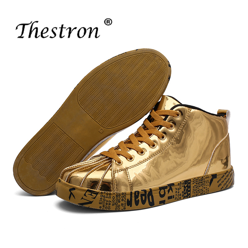 Thestron Lovers Designer Shoes Size36 46 Male Sneakers Skate Shoes for Couples Golden Sliver Casual Brand Outside Walking Boots in Basic Boots from Shoes