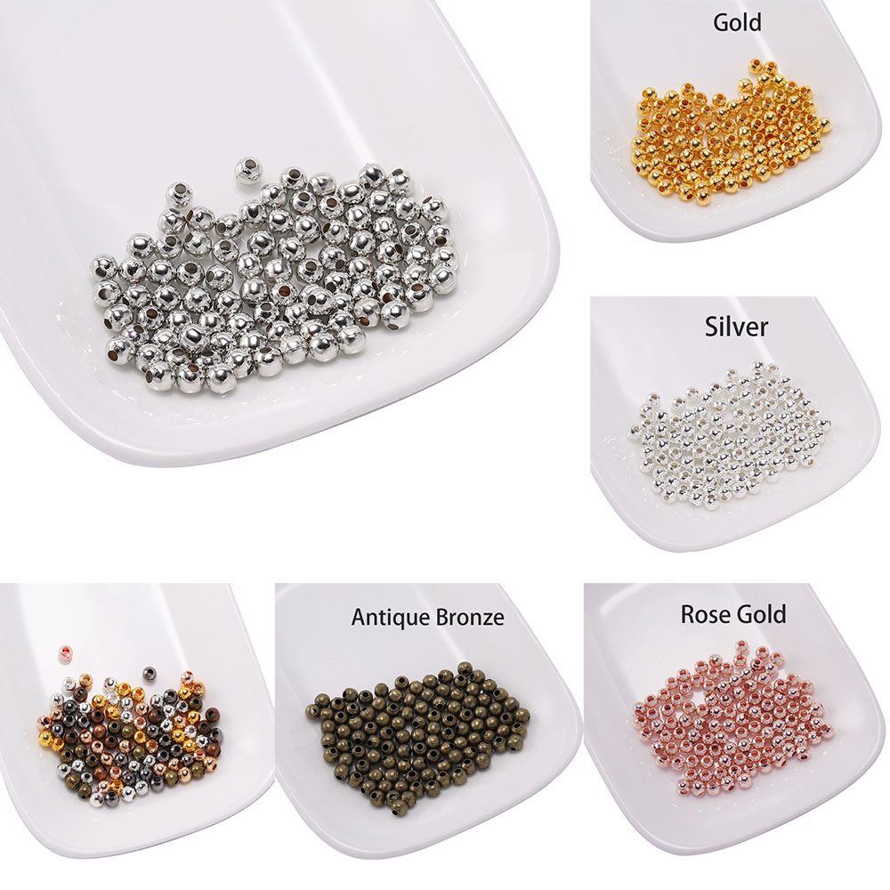 100pcs Metal Beads Smooth Ball Spacer Beads For Jewelry Making 3 4 5 6 8 10mm Gold/Bronze Bead Jewelry Findings(China)