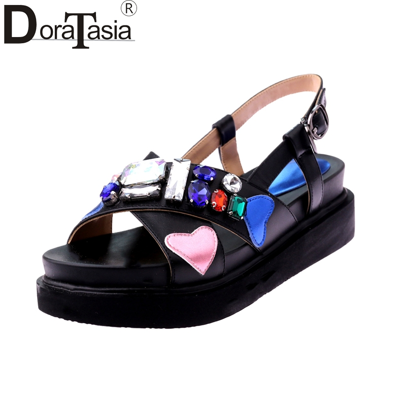 DoraTasia New Fashion Genuine Leather Comfortable Women Shoes Women Concise Platform Sandals Summer Women Shoes Woman