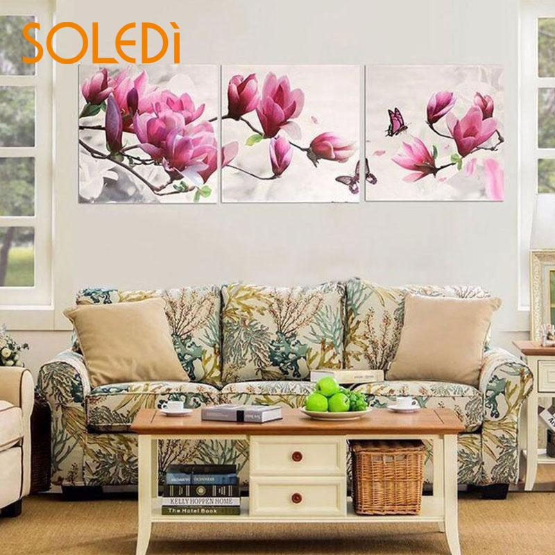 3Pcs/Set NEW Painting Magnolia Flower Home Oil Painting Art Floral Pictures Gift Decoration Joint Canvas Home Decor Living Room