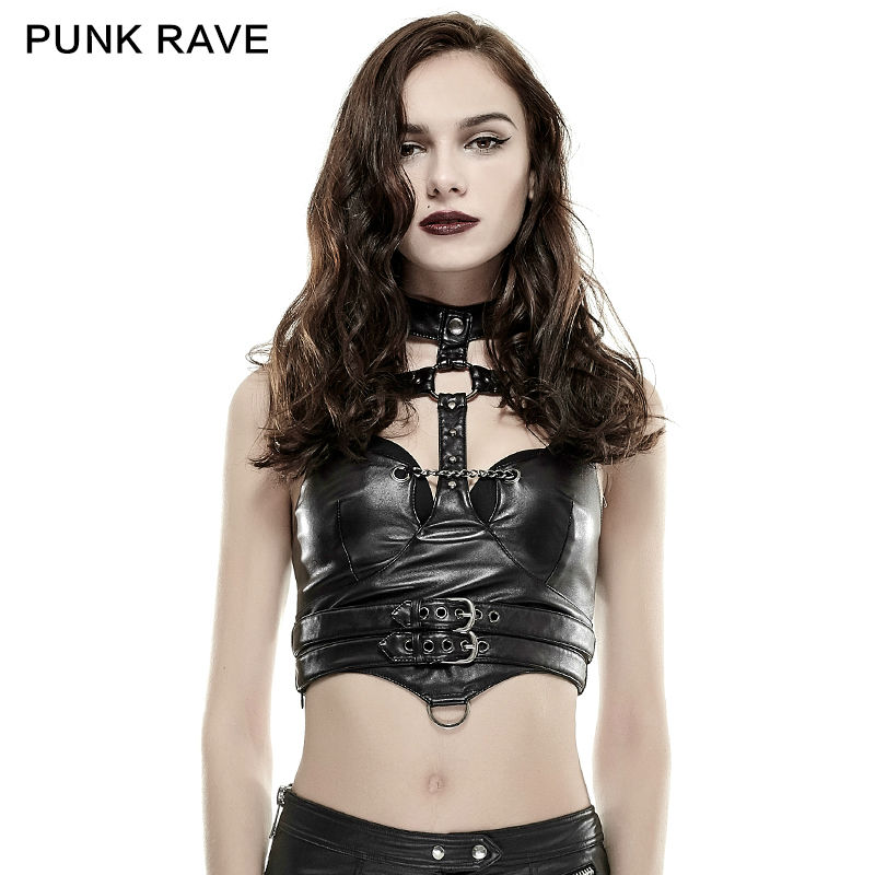 Fashion Sexy Punk Gothic Cosplay Novelty Leather Lolita Sumer Visual Kei Shirt Y655 ...