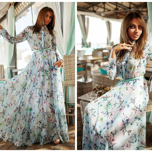 European Style Summer New Womens Casual Dinner Dress Printing Long Sleeved Ladies In Dresses From Clothing Accessories On