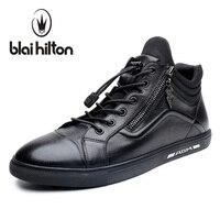 Blaibilton 2017 Luxury Designer 100% Genuine Leather Men Shoes High Top Quality Side Zip Fashion Mens Shoes Casual Black SD6211