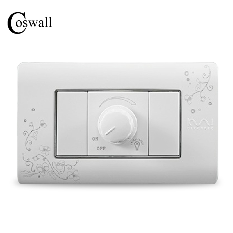 COSWALL Luxury Wall Dimmer Regulator Switch 300W Maximum Ivory White Brief Art Pattern  Light Switch 118*72mm AC 110~250V the ivory white european super suction wall mounted gate unique smoke door