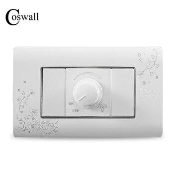 Interruptor regulador de potenciómetro de pared de lujo COSWALL 300W máximo marfil blanco breve patrón de arte interruptor de luz 118*72mm AC 110 ~ 250V